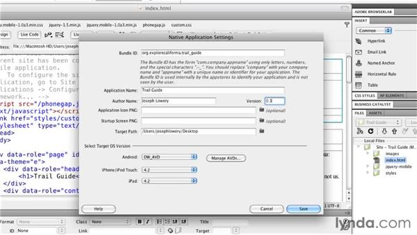 Specifying Android settings: Building Android and iOS Apps with Dreamweaver CS5.5