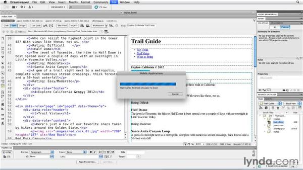 Testing the Android emulator: Building Android and iOS Apps with Dreamweaver CS5.5