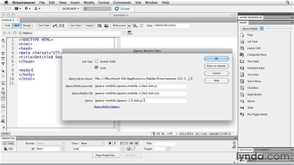 Setting up page divs and updating jQuery Mobile: Building Android and iOS Apps with Dreamweaver CS5.5