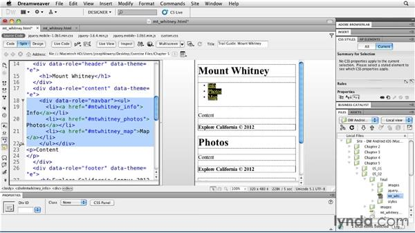 Handling sub-navigation: Building Android and iOS Apps with Dreamweaver CS5.5