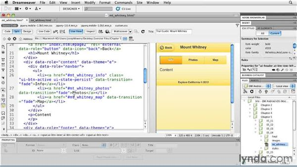 Applying page transitions: Building Android and iOS Apps with Dreamweaver CS5.5
