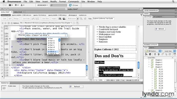 Making multiple columns: Building Android and iOS Apps with Dreamweaver CS5.5