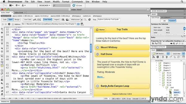 Creating collapsible content: Building Android and iOS Apps with Dreamweaver CS5.5