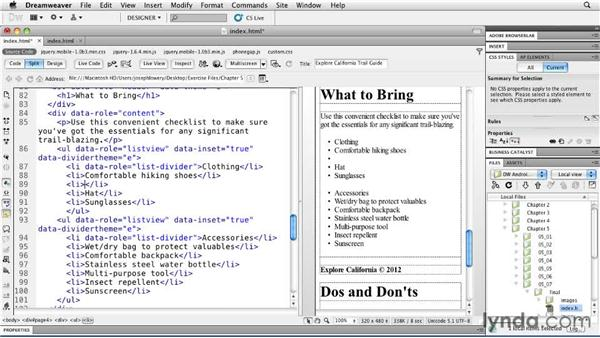 Defining basic lists: Building Android and iOS Apps with Dreamweaver CS5.5