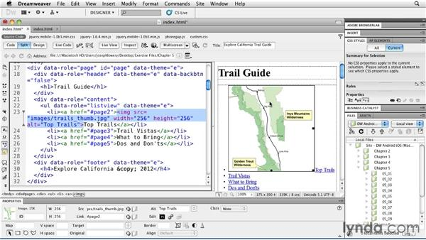Incorporating images with lists: Building Android and iOS Apps with Dreamweaver CS5.5