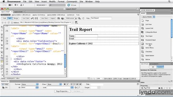 Gathering text details: Building Android and iOS Apps with Dreamweaver CS5.5