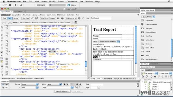 Incorporating a slider control: Building Android and iOS Apps with Dreamweaver CS5.5