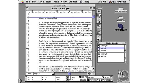 style sheets: Learning QuarkXPress 5
