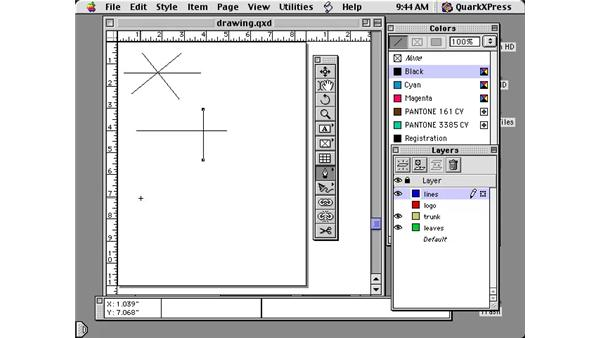 drawing lines: Learning QuarkXPress 5