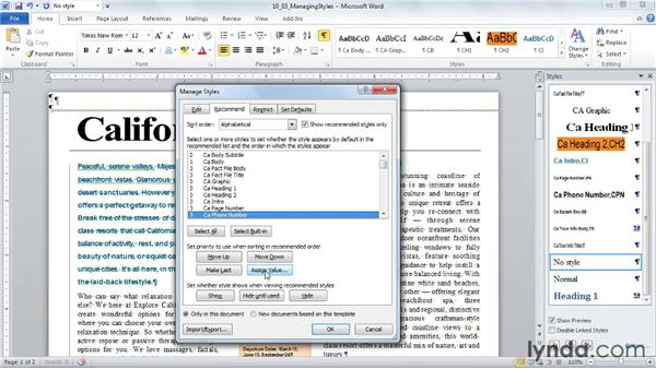 Editing, hiding, recommending, and restricting styles: Word 2010: Styles in Depth