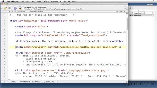 Customizing the HTML template: Creating an Adaptive Web Site for Multiple Screens