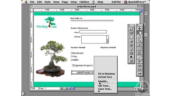 form pop-up menus: Learning QuarkXPress 5