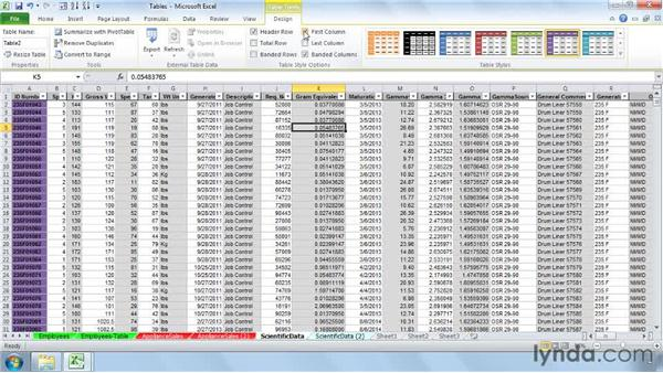 Using the Ribbon Design tab to control table formatting: Setting Up a Database in Excel 2010
