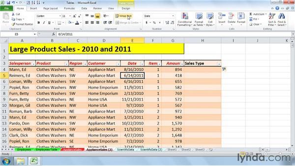 Expanding tables automatically and adding totals: Setting Up a Database in Excel 2010
