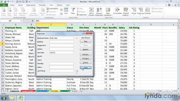 Building and viewing data with the Form tool: Setting Up a Database in Excel 2010