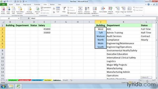 Restricting data entries with data validation: Setting Up a Database in Excel 2010