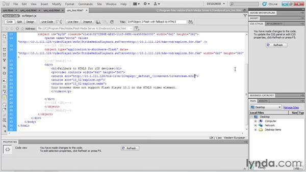 Publishing a live stream with universal player code: Up and Running with Flash Media Server 4.5
