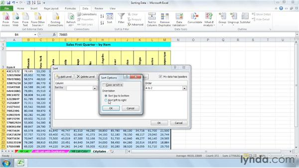 Sorting columns: Managing and Analyzing Data in Excel 2010