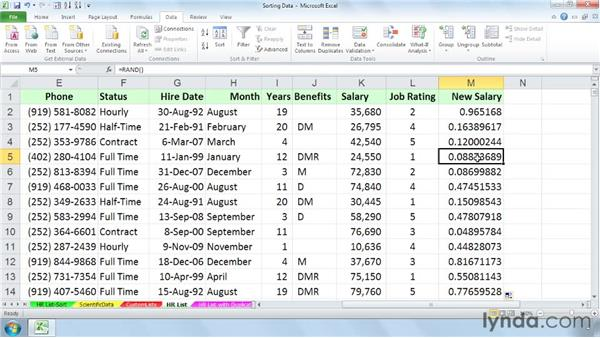 Sorting data in random order: Managing and Analyzing Data in Excel 2010