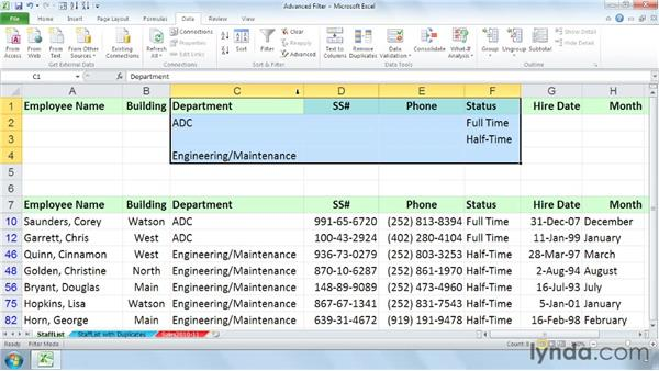 Using the Advanced Filter for complex multiple-field criteria: Managing and Analyzing Data in Excel 2010