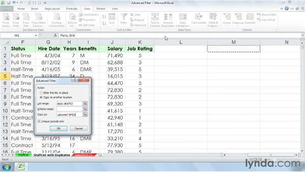 Using the Advanced Filter to create unique lists from repeating field data: Managing and Analyzing Data in Excel 2010
