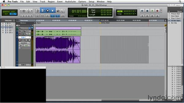 Setting up for a 30-second condensed edit: Music Editing for TV and Film in Pro Tools