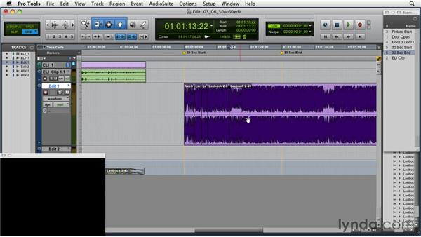 First pass of a 30-second condensed edit: Music Editing for TV and Film in Pro Tools