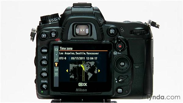 Setting the date and time: Shooting with the Nikon D7000