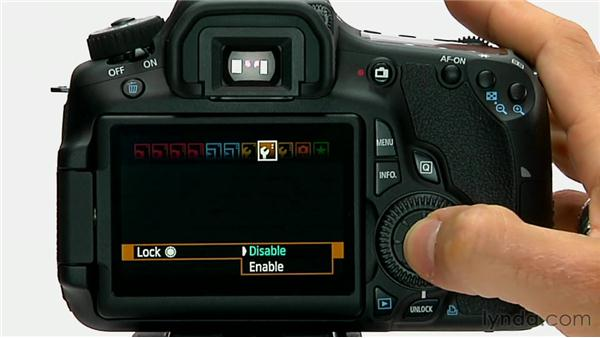 the unlock button rh lynda com canon eos 60d manual video Canon 60D Cheat Sheet PDF