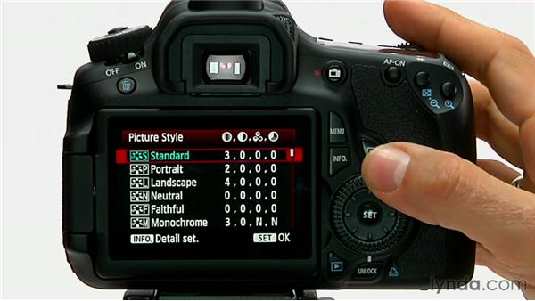 Selecting a picture style: Shooting with the Canon 60D