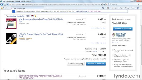 Using the Shopping Cart feature: eBay for Buyers Essential Training