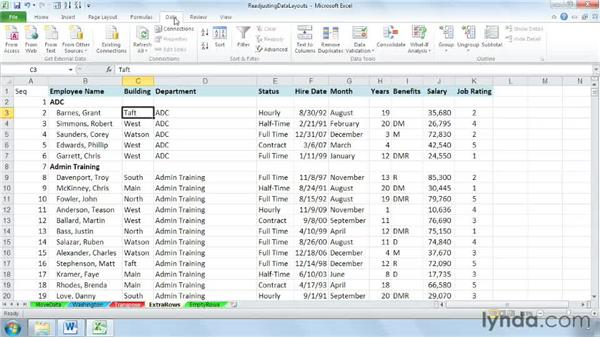 Using Sort to eliminate empty rows and columns: Cleaning Up Your Excel 2010 Data