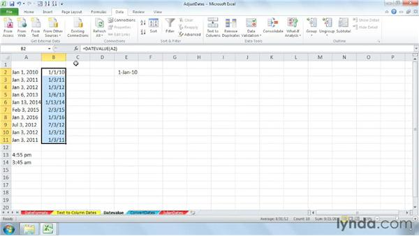Using the DATEVALUE and TIMEVALUE functions: Cleaning Up Your Excel 2010 Data
