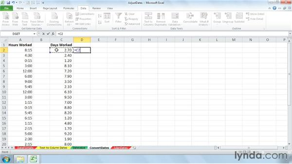 Converting between time units: Cleaning Up Your Excel 2010 Data