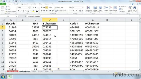 Managing leading zeroes in zip, numerical, and text codes: Cleaning Up Your Excel 2010 Data
