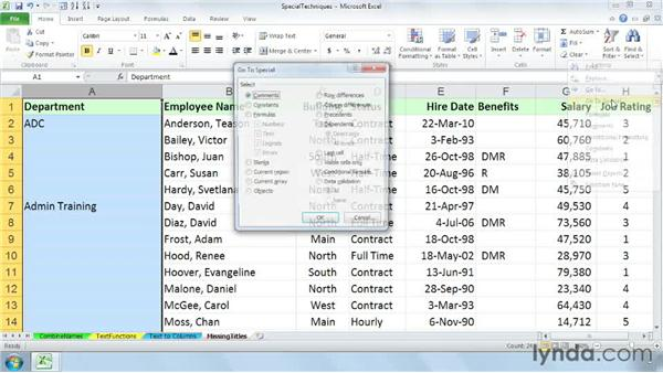 Filling in missing title information: Cleaning Up Your Excel 2010 Data