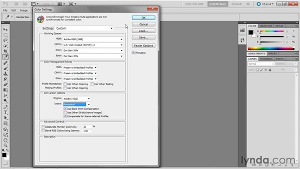 Adjusting the color settings: Photoshop Masking and Compositing: Fundamentals