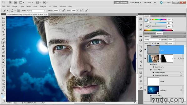 Cooling a face, reflecting inside eyes: Photoshop Masking and Compositing: Fundamentals