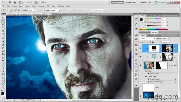 Adding dark circles around the eyes: Photoshop Masking and Compositing: Fundamentals