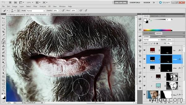Integrating the blood into the scene: Photoshop Masking and Compositing: Fundamentals