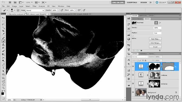 Combining pixel and vector masks: Photoshop Masking and Compositing: Fundamentals
