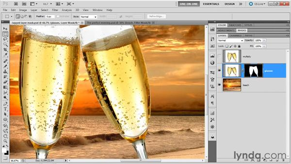 Refining a jagged Magic Wand mask: Photoshop Masking and Compositing: Fundamentals