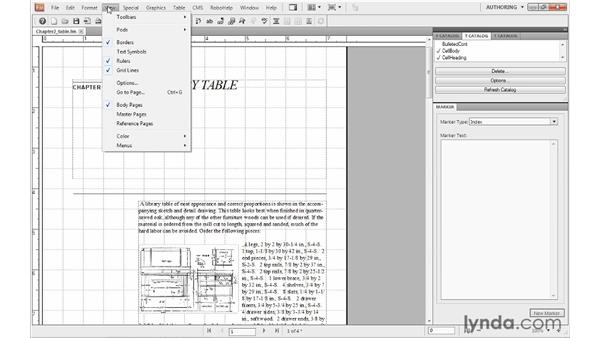 Using visual guides and rulers: FrameMaker 10 Essential Training