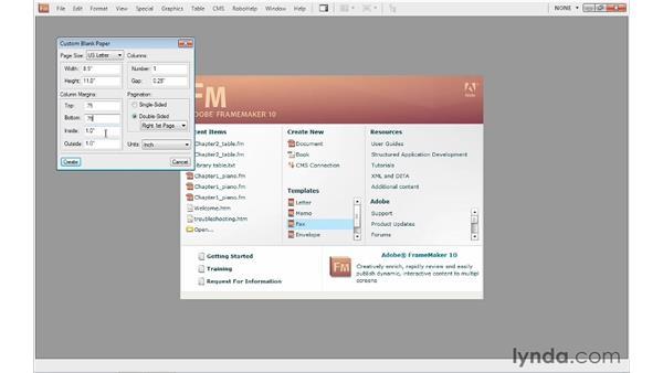 Creating a custom document: FrameMaker 10 Essential Training