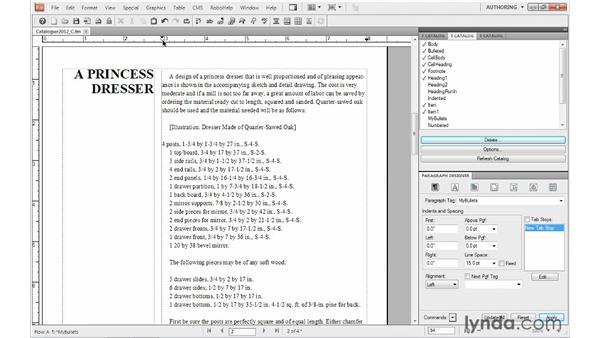 Formatting bulleted lists: FrameMaker 10 Essential Training