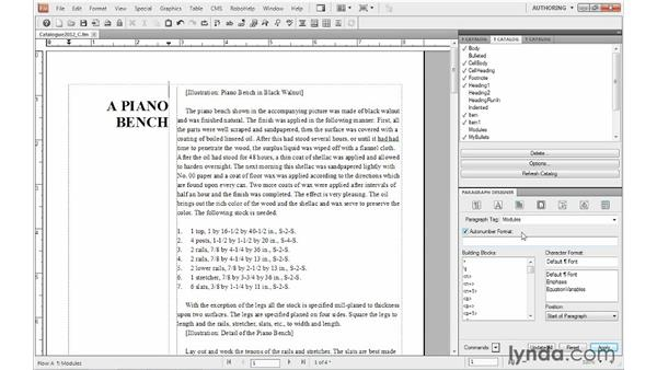 Formatting chapter titles: FrameMaker 10 Essential Training