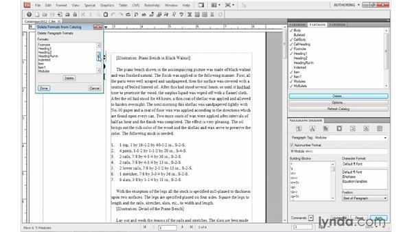 Deleting formats: FrameMaker 10 Essential Training