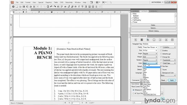 Using color in paragraph formats: FrameMaker 10 Essential Training