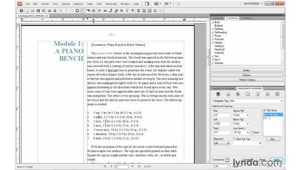 Using a character format in paragraph autonumbering: FrameMaker 10 Essential Training
