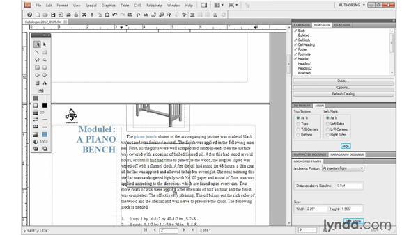 Repositioning anchored frames: FrameMaker 10 Essential Training